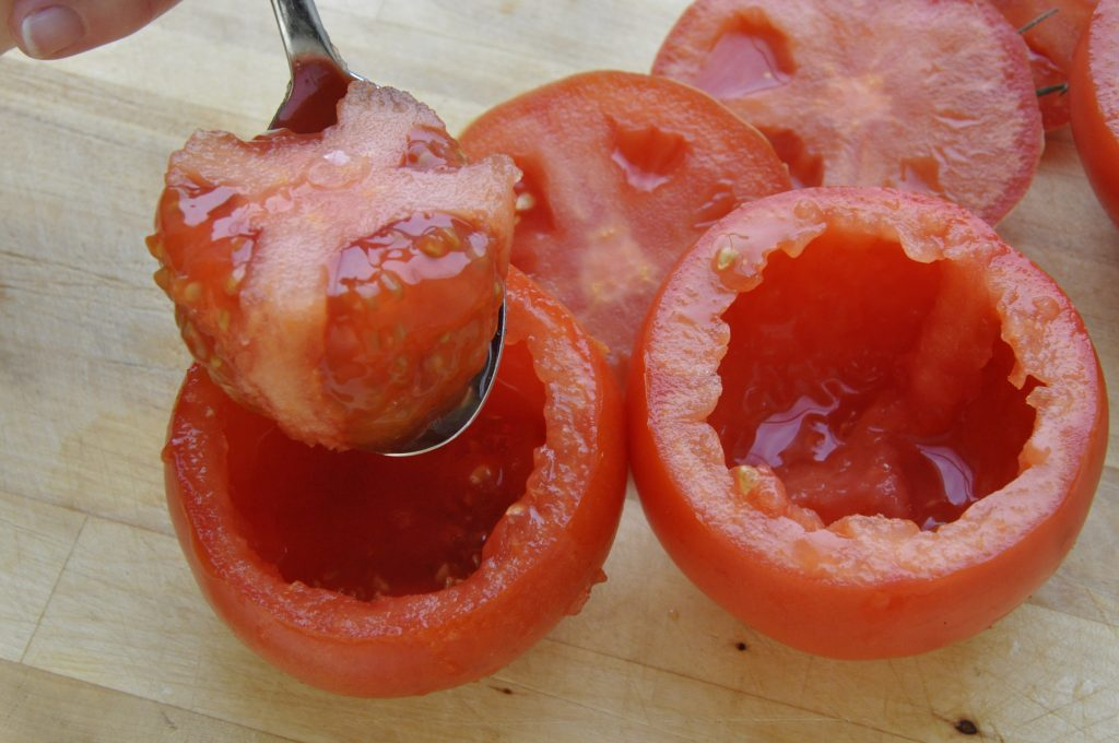 Tomatoes - scrape out middles