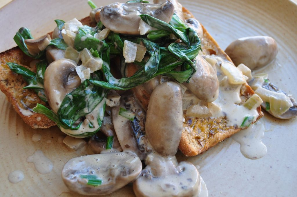 Wild garlic & mushrooms on toast web