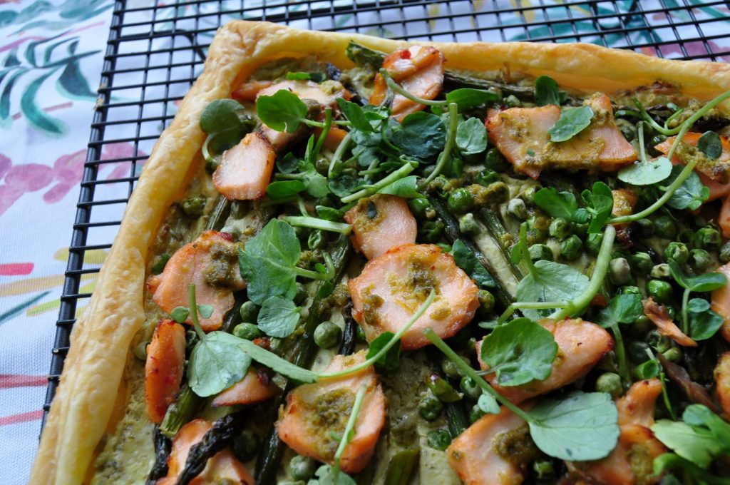 Asparagus & pea tart - cool on wire tray web
